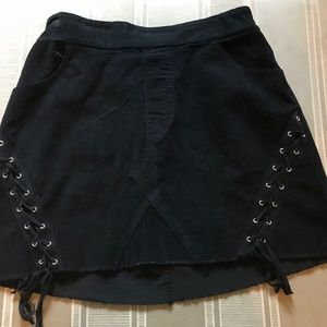 Black Corduroy Lace Up Sides Skirt New With Tags